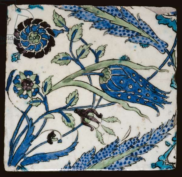 C.1-1929 Syrian tile decorated with blue flowers, Damascus, late 16th century (earthenware)