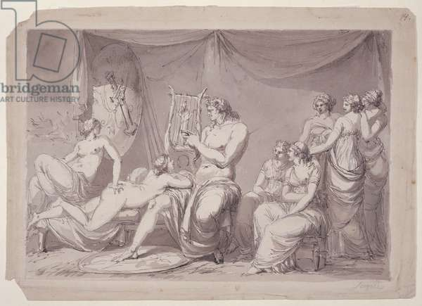Achilles in his Tent with Prisoners, c.1795-96 (pen and ink and wash on paper)