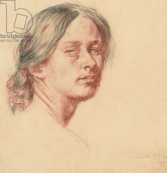 Portrait of Grace Westray, towards left, 1899 (red & black chalk on paper)