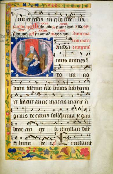 MS.McC.57. f.48r St. Anne throned, reading, the Virgin with Child seated before her, initial from an Antiphon, late 15th century