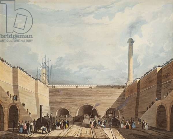 Entrance of the Railway at Edge Hill, Liverpool, engraved by H. Pyall, 1831 (hand coloured etching and aquatint)