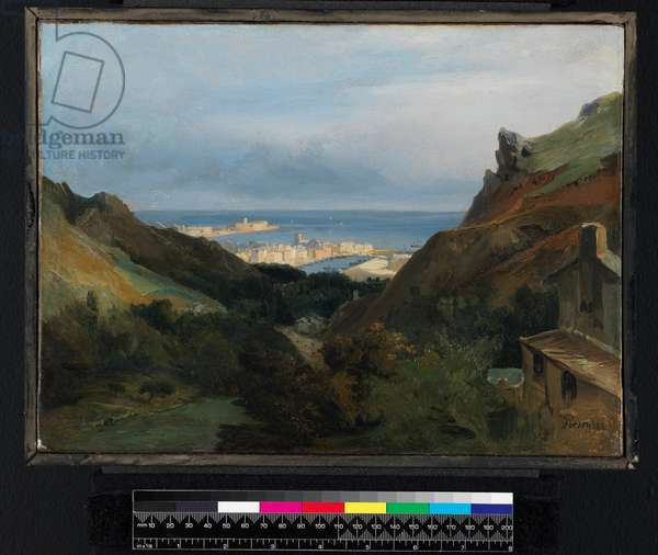 Italian landscape with a view of a harbour, before 1875 (oil on paper, laid on canvas)