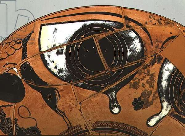 Eye-Cup, Herakles and the Nemean Lion (detail of an eye), 535-530 BC (clay)
