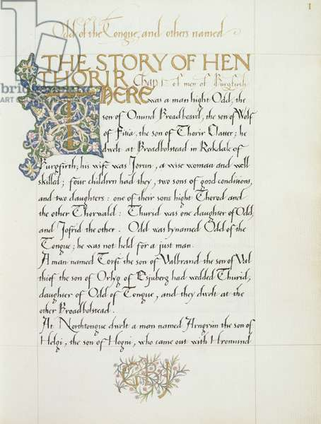 Ms 270* f.1r The Story of Hen Thorir, c.1873-4 (paper)