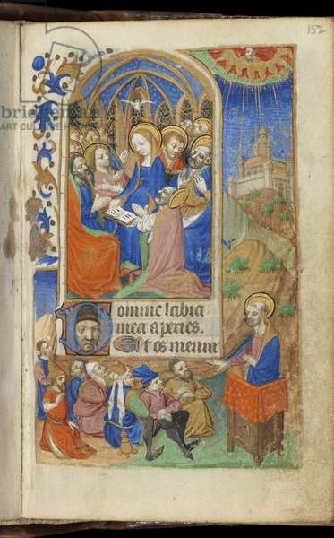 Pentecost and a Preaching Scene, Book of Hours (Use of Paris) (ink & colour on vellum)