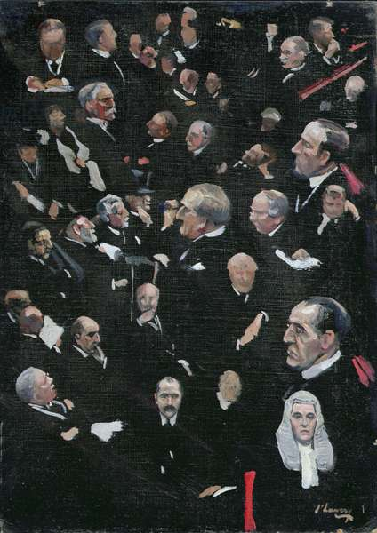 Studies in the House of Lords, Viscount Morley moving the Address, 14th December 1921 (oil on canvas)