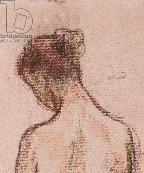 Full-length standing nude of a woman, from behind (detail), before 1903 (pastels on pink paper)