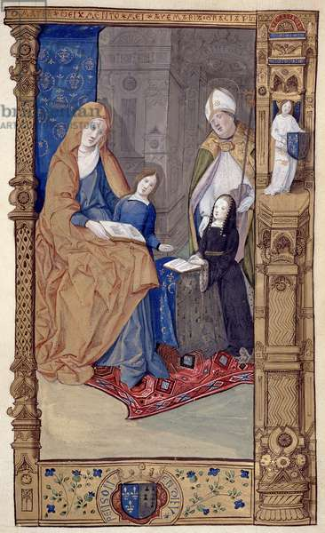 Ms.159.p14  St. Claude Presents a Kneeling Girl to St. Anne and the Virgin, from 'The Primer of Claude de France', c.1500-10 (ink & gold ink on parchment)