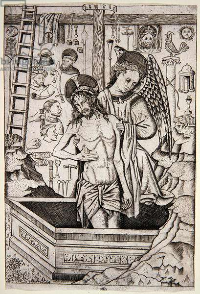 The Man of Sorrows with an Angel and the Instruments of the Passion, c.1490-1520 (engraving)
