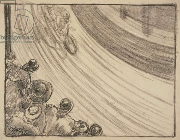 The Cycle Race, 1913 (chalk on tracing paper)