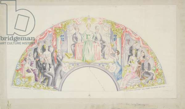 PD.10-1968 The Sitwells Perform, design for a fan, 1932 (w/c and pencil on silk)