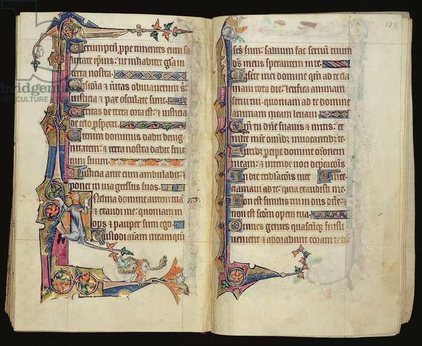Ms 1-2005, ff.122v-123r: Grotesque marginal decoration from the Macclesfield Psalter, Use of Sarum, East Anglia, c.1330 (vellum)