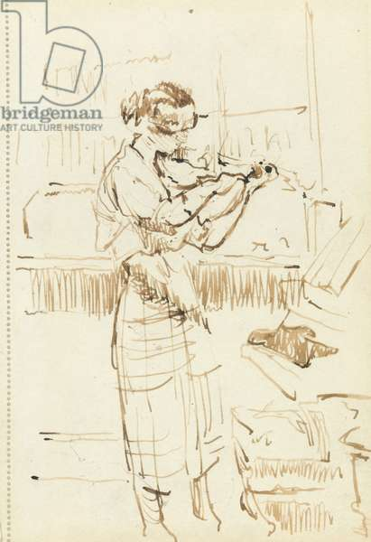 Girl playing a violin (pen & brown ink on paper)