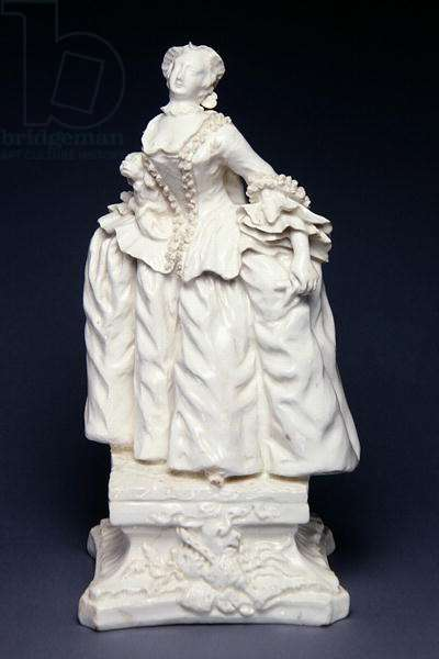 Bow figure of Kitty Clive as 'The Fine Lady' from the farce, 'Lethe', after an engraving by Charles Mosley, c.1750 (white porcelain) (see 282907 for pair)