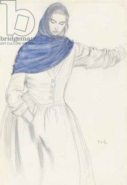 The Blue Shawl (graphite & w/c on paper)