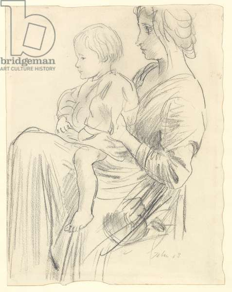 Portrait of Romilly John sitting on the lap of his mother, 1908 (graphite on paper)