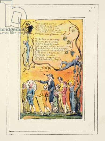 P.124-1950.pt6 The Echoing Green (cont.): plate 6 from Songs of Innocence and of Experience (copy R) c.1802-08 (etching, ink and w/c)
