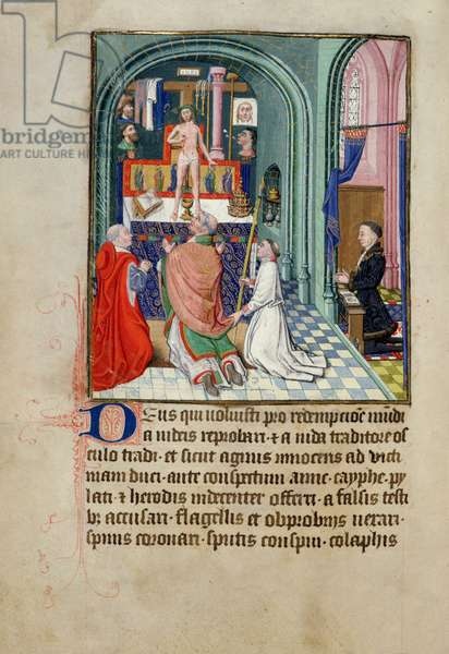 Ms 3-1954 fol.253v The Mass of St. Gregory from a Book of Hours, made for Phillipe Le Hardi, Duke of Burgundy (vellum)