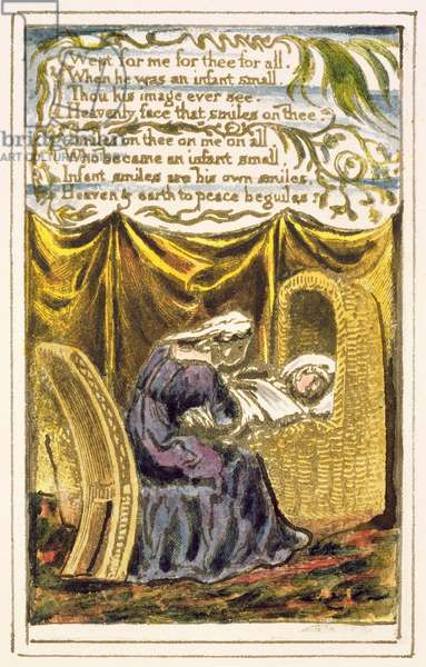 P.124-1950.pt16 A Cradle Song (cont.): plate 16 from Songs of Innocence and of Experience (copy R) c.1802-08 (etching, ink and w/c)
