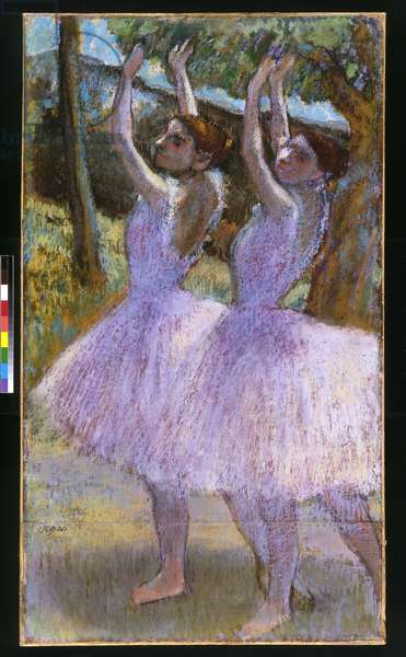 PD.2-1979 Dancers in violet dresses, arms raised, c.1900 (pastel and black chalk on paper)