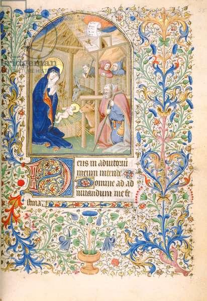 T.2629 Ms 63 f.55r The Nativity (Use of Paris) c.1460 (vellum)