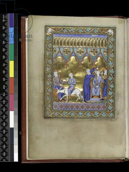 MS 300 f.Vv, David, enthroned, sends Solomon to Sadoc and Nathan who crown and anoint him, from the Psalter and Hours of Isabella of France, Paris, c.1265-70 (pen & ink and tempera on parchment)