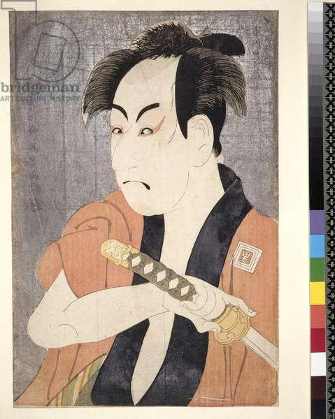 P.199-1946 The actor Ichikawa Omezu I as the servant Ippei by Toshusai Sharaku, c.1794, (colour woodblock print)