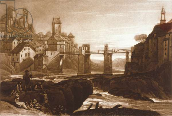 F.31.I Lauffenbourgh on the Rhine, from the 'Liber Studiorum', engraved by T. Hodgetts, 1811 (etching)