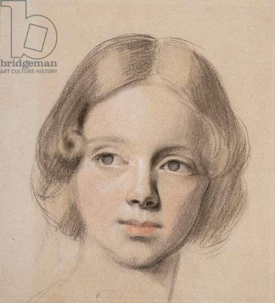 Head of Emma Sandys (coloured chalk on buff paper)