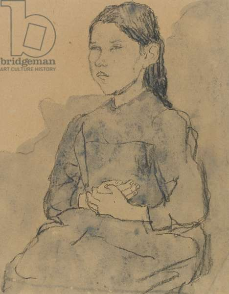 Young girl: Marie Hamonet, c.1918 (charcoal & blue wash on paper)
