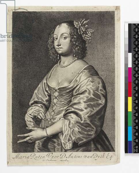 Portrait of Mary Ruthven, engraved by William Faithorne (engraving)