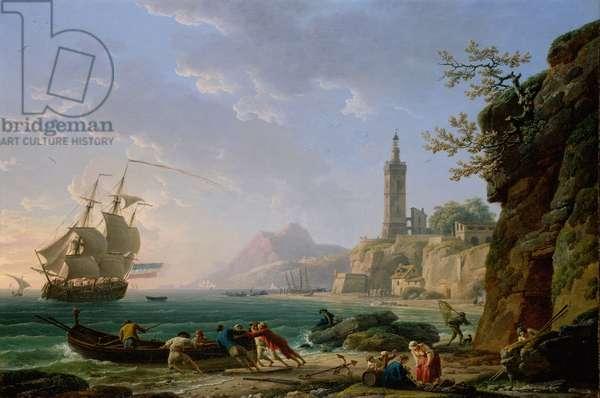 A Coastal Mediterranean Landscape with a Dutch Merchantman in a Bay, 1769 (oil on canvas)