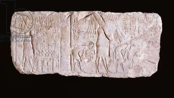 Relief of the heretic King Akhenaten depicting the king standing, arms upraised, before an offering table and walking in procession celebrating the royal heb sed-festival, New Kingdom, 1353-37 BC (limestone)