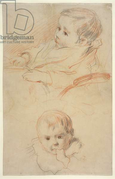 Two studies of a little child, 1875-80 (black & red chalk on yellowish paper)