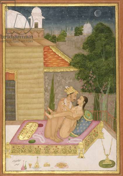 The private pleasure of the brother of Raja Bhar Mal: the couple make love on a bed in a garden, mogul buildings stand out against a star-lit sky, a crescent moon hangs over some trees, by Manohar, Bikaner, Rajasthan, Rajput School, c.1678-98, (gouache on paper)
