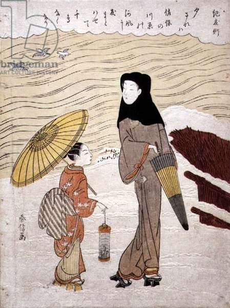 Lady and Maid Walking by a River, c.1767 (woodblock print with blink embossing)