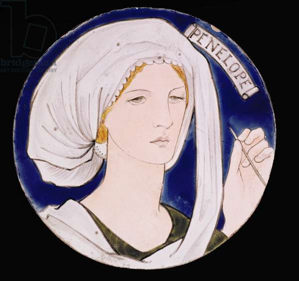 C.3-1922 Morris and Company tile depicting Penelope, designed by Edward Burne-Jones (1833-98), painted by Kate Faulkner, c.1865 (painted earthenware)