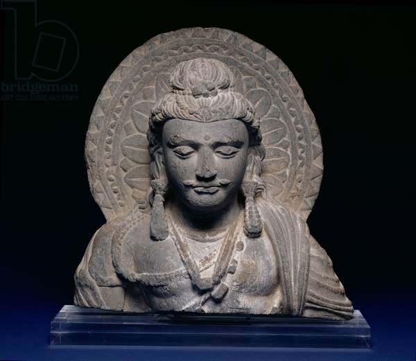 Head of Buddha, India, 2nd century (schist)