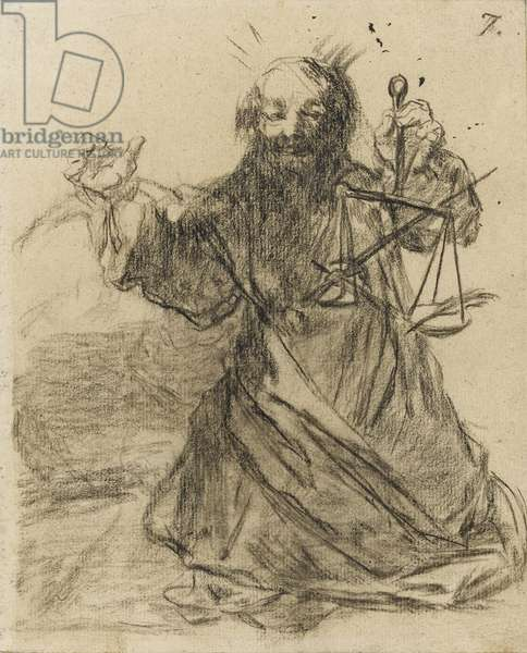 'The Pen is Mightier than the Sword', 1819-28 (black chalk on paper)