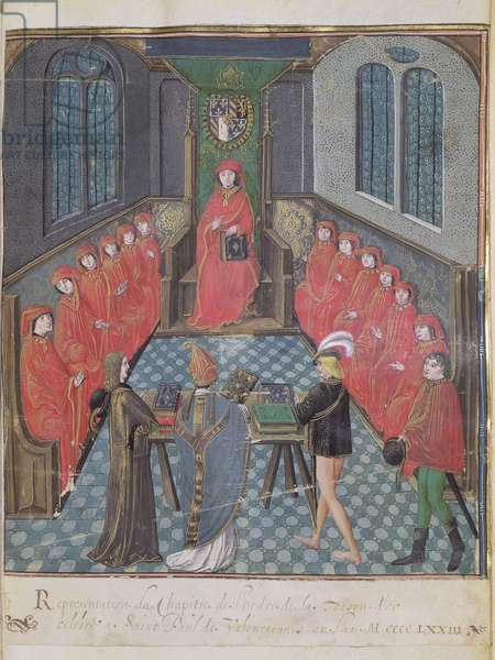 MS.187.p129 Chapter of the Order held in 1473 at St. Paul de Valenciennes, with Charles the Bold Enthroned, 1563 (vellum)
