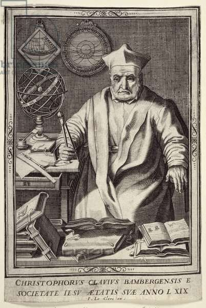 Christopher Clavius (1537-1612) Aged 69, published by Jean Le Clerc, c.1606-07 (engraving)