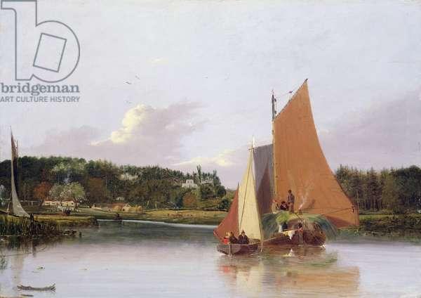 Boats on the Yare near Bramenton, Norfolk, 1828 (oil on panel)
