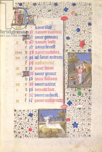MS.74.f12r Killing a Boar, Capricorn, Calendar Page for December from a French Horae, c.1480 (vellum)