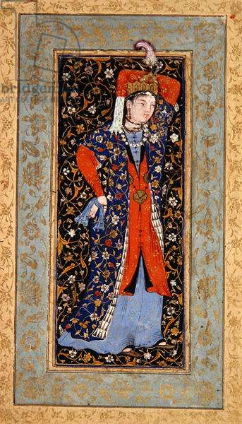 Female Dancer with handkerchiefs in each hand, c.1560 (gouache with ink & gold on paper)