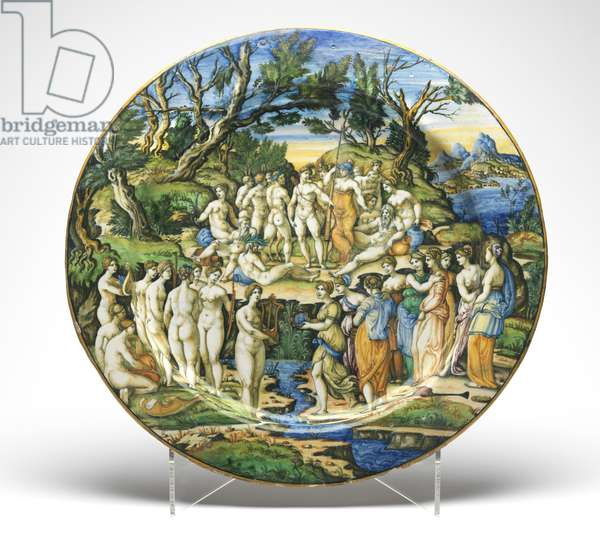 The Contest between the Muses and the Pierides, c.1545-50 (tin-glazed earthenware)