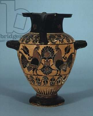 Hydria decorated with cockerels, Chaloidian ware, c.540 BC (clay)