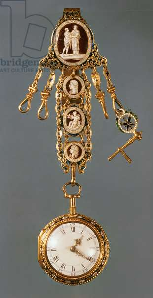Repeating gold watch with gold enamel chatelaine, by Perigal, London, c.1760-70