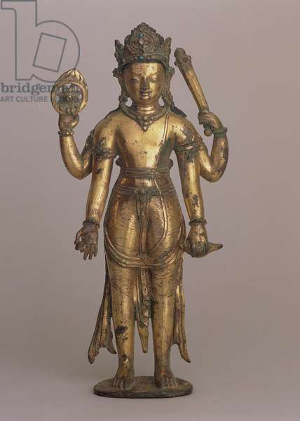 Statuette of the Hindu god Vishnu, c.1200 (high-copper bronze, incised, gilt, set with gems and painted)