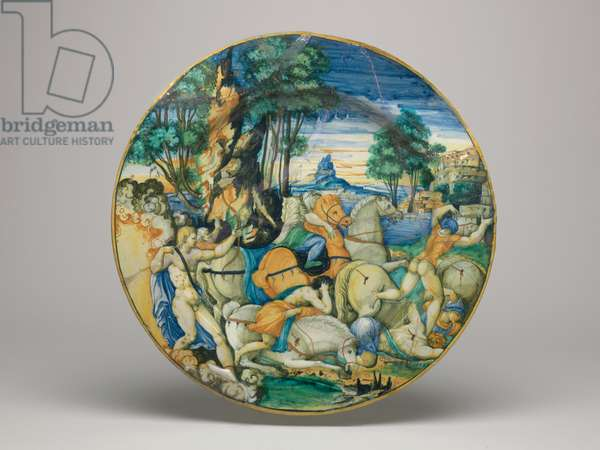 Maiolica dish, Apollo slaying the Sons of Niobe- Shape approximately 64 with plain rim, base of dish, 1548 (earthenware, tin-glazed overall; the reverse pale beige. painted in blue, green, yellow, orange, stone, brown, manganese-purple, black, and white)