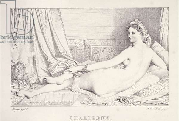 L'Odalisque Couchee, 1825 (litho & carbon ink on paper)